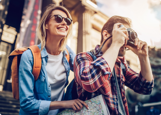 man and woman clicking a photo