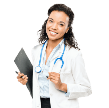 Smiling curly hair doctor using setmore