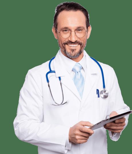 doctor in glasses using vaccine scheduling app
