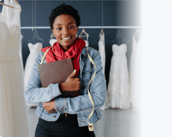 Lady using setmore to book wedding appointments