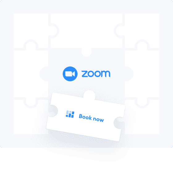 Book now puzzle piece on a space for Zoom