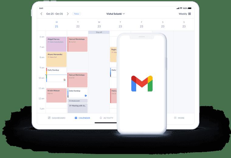 gmail logo and calendar page on desktop