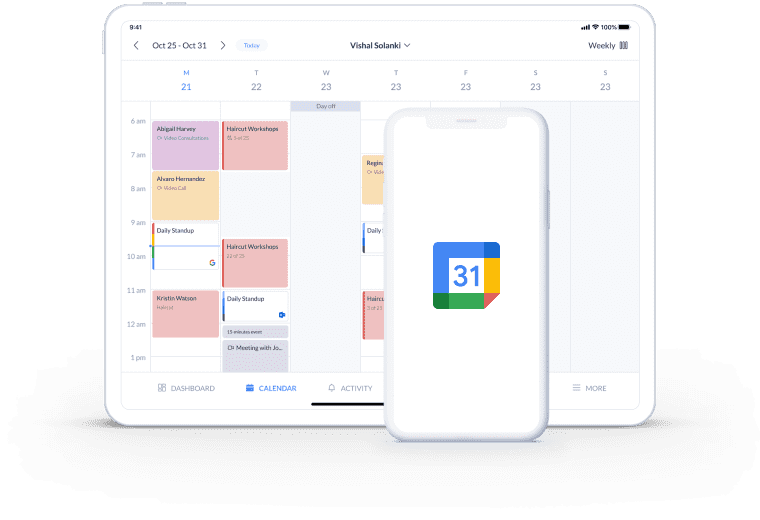 setmore page integration with google calender