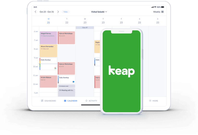 setmore calendar page integration keap