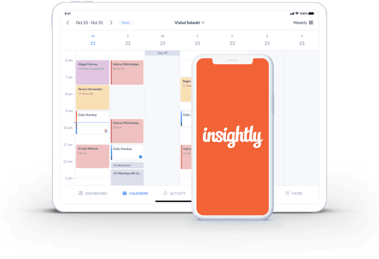 setmore insightly calendar page