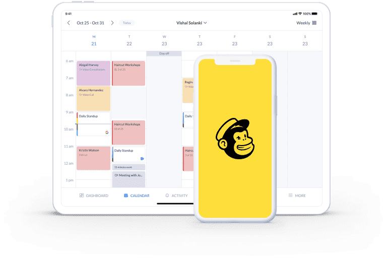 calendar page on setmore email list from mailchimp