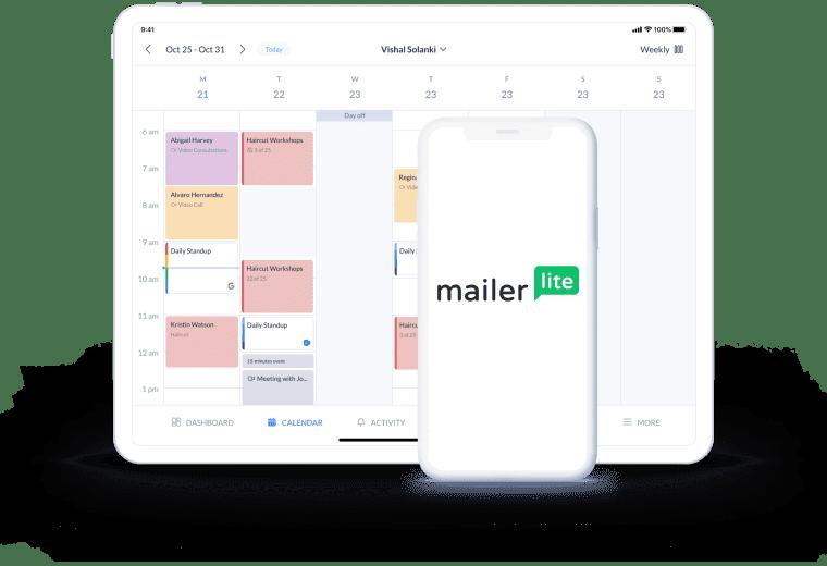 setmore mailerlite calendar page