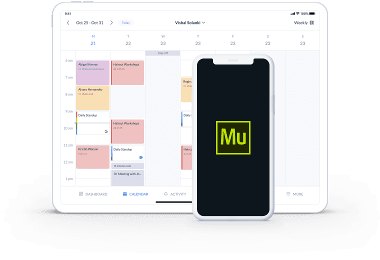 muse integration with setmore calendar page