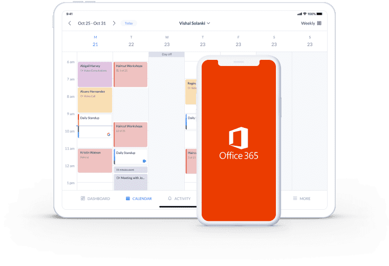 setmore booking page integration with office 365