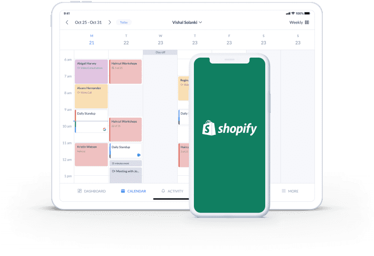 setmore booking page integration with shopify
