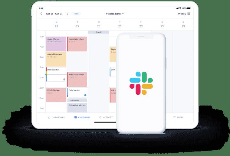setmore calendar page on desktop and slack logo