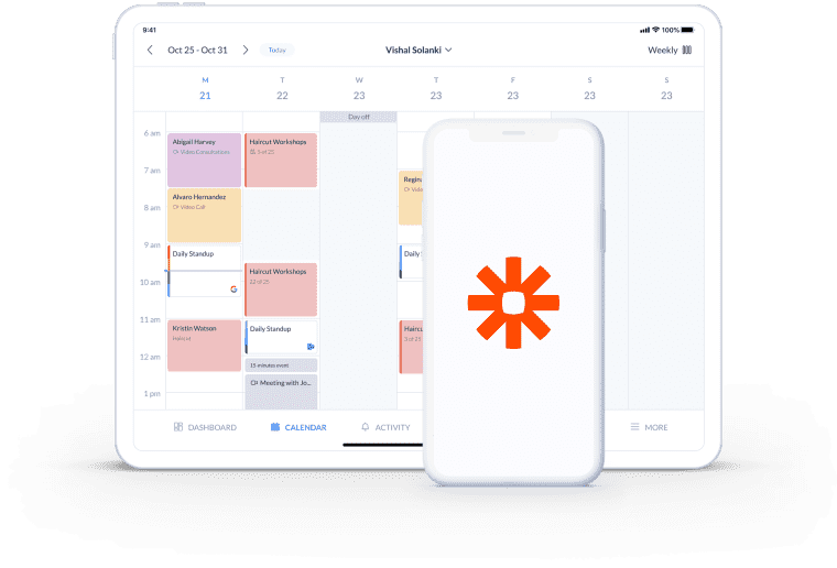 calendar page setmore integration zapier
