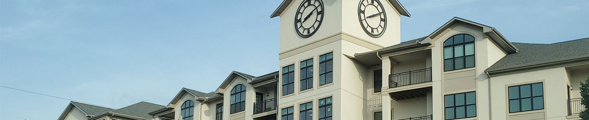 The tower clock in the apartment building