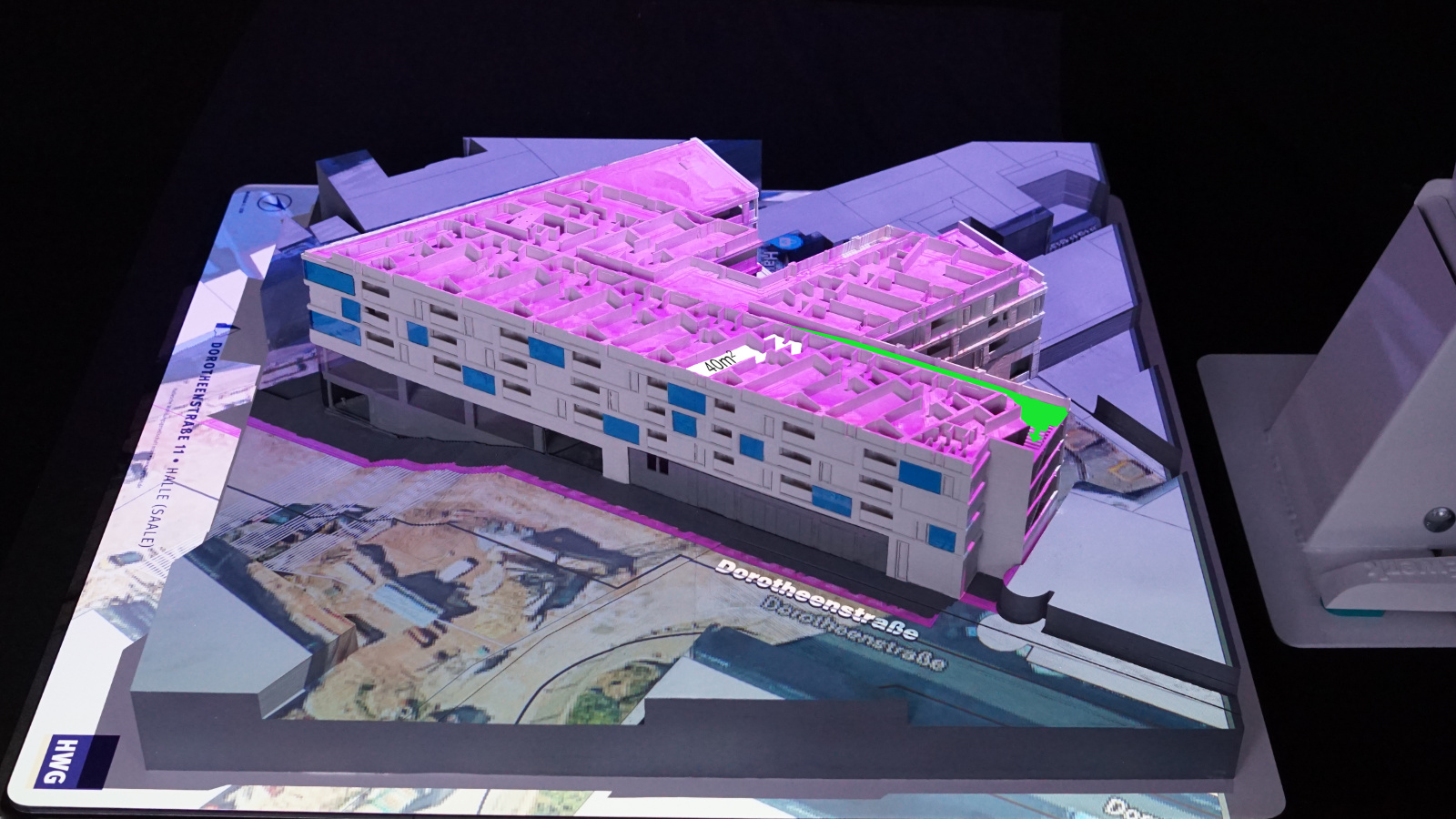 Projection mapping of floor information, flat detail and surrounding services