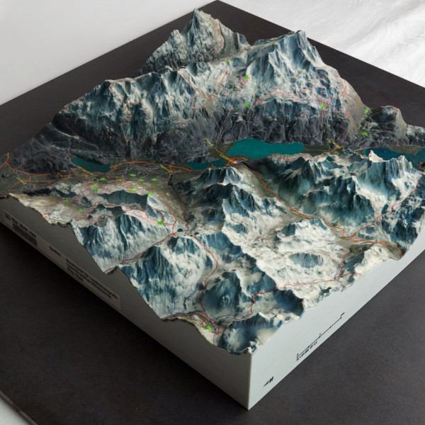 map sankt moritz alps raised switzerland