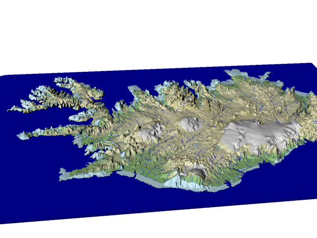 Iceland VE 20x rivers, seasons  3d printed landprint terrain map topographic relief 		visualization raised spatial landscape diorama aerial bespoke geo 		mapping carteinrilievo