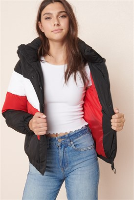 Image of Colourblock Puffer Jacket - FINAL SALE