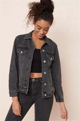 Image of Boyfriend Denim Jacket W/ Studs - FINAL SALE