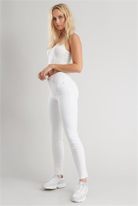 Image of High Rise Ankle Jegging - Clean White