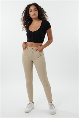 Image of High Rise Jegging - Sand Beige
