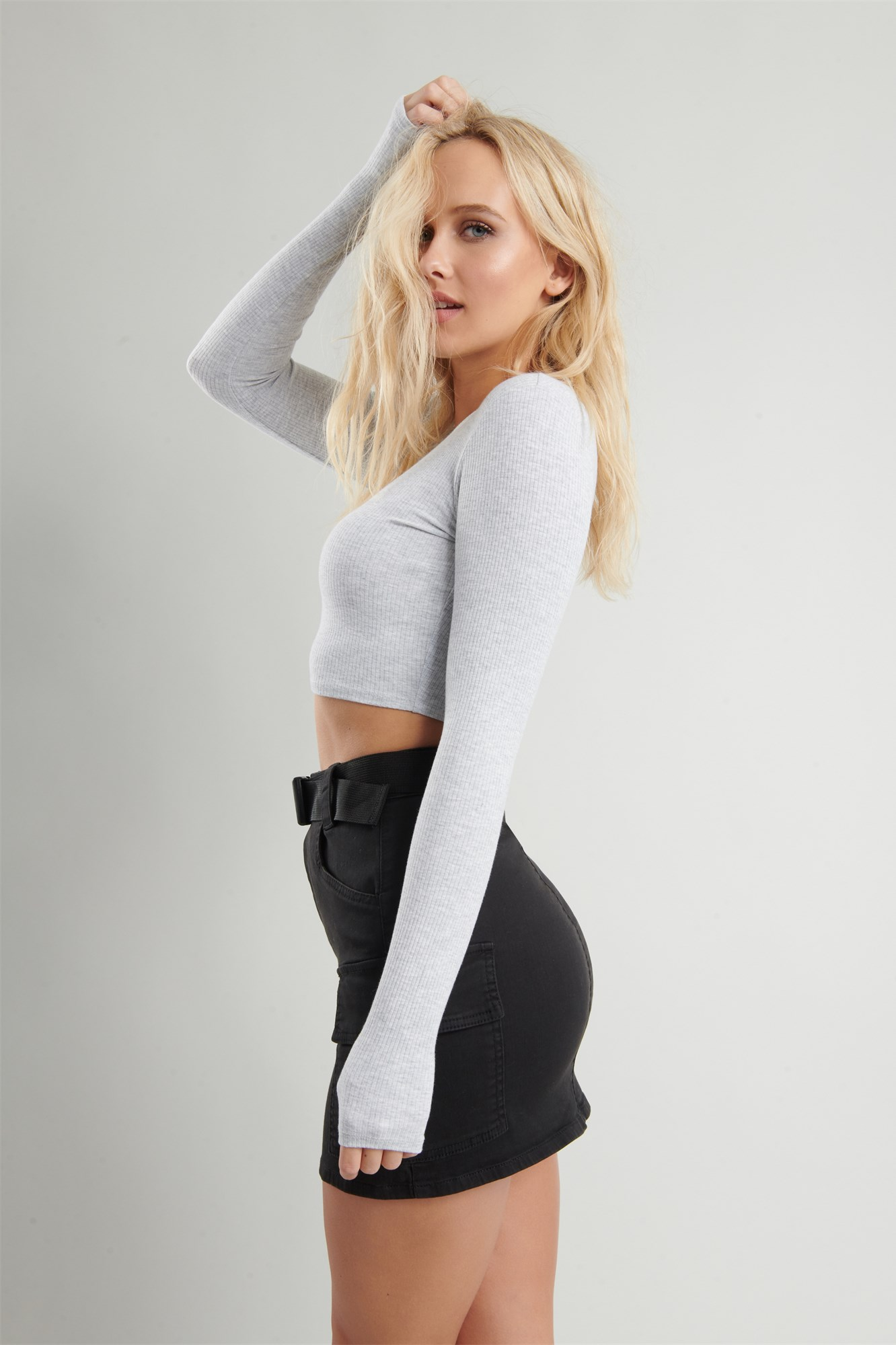 Image 3 of Belted Cargo Mini Skirt