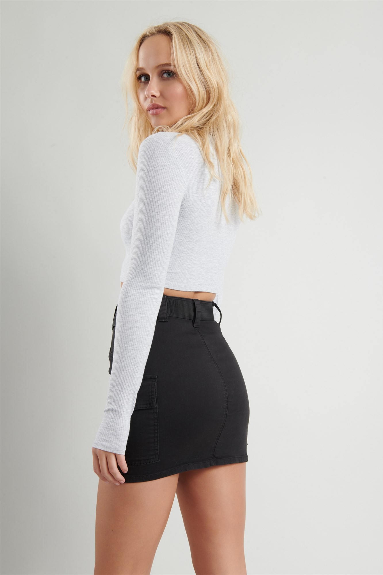 Image 4 of Belted Cargo Mini Skirt