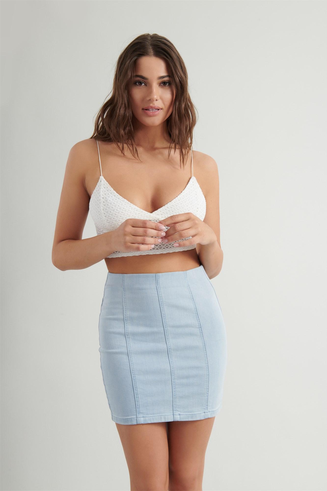 Image 2 of Ultra High Rise Denim Skirt