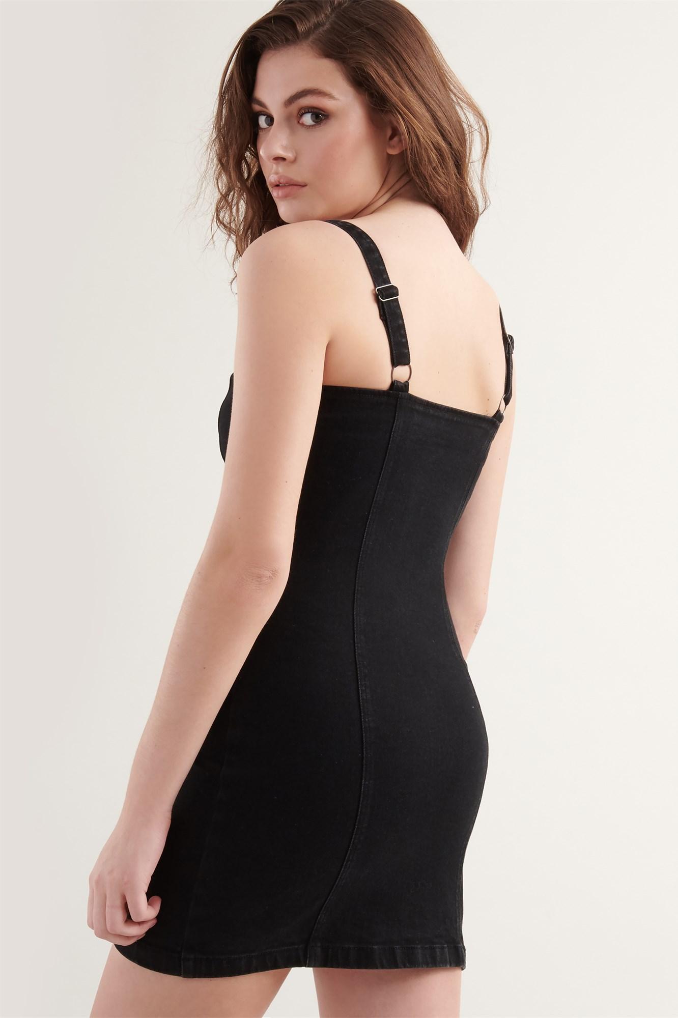 Image 4 of Zip Up Denim  Dress