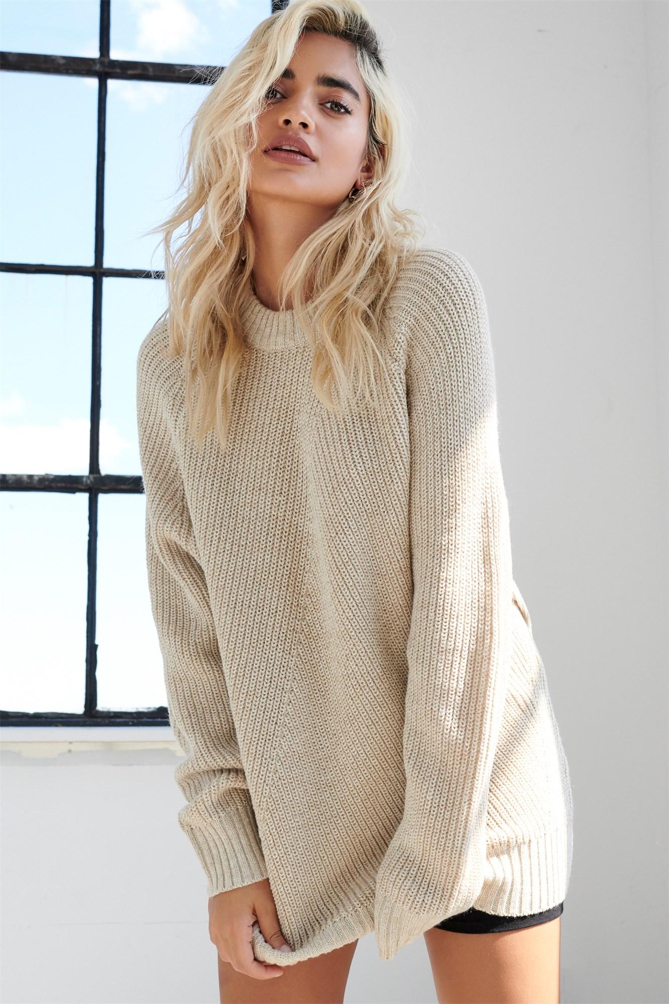 Image 1 of Crew Neck Tunic Sweater
