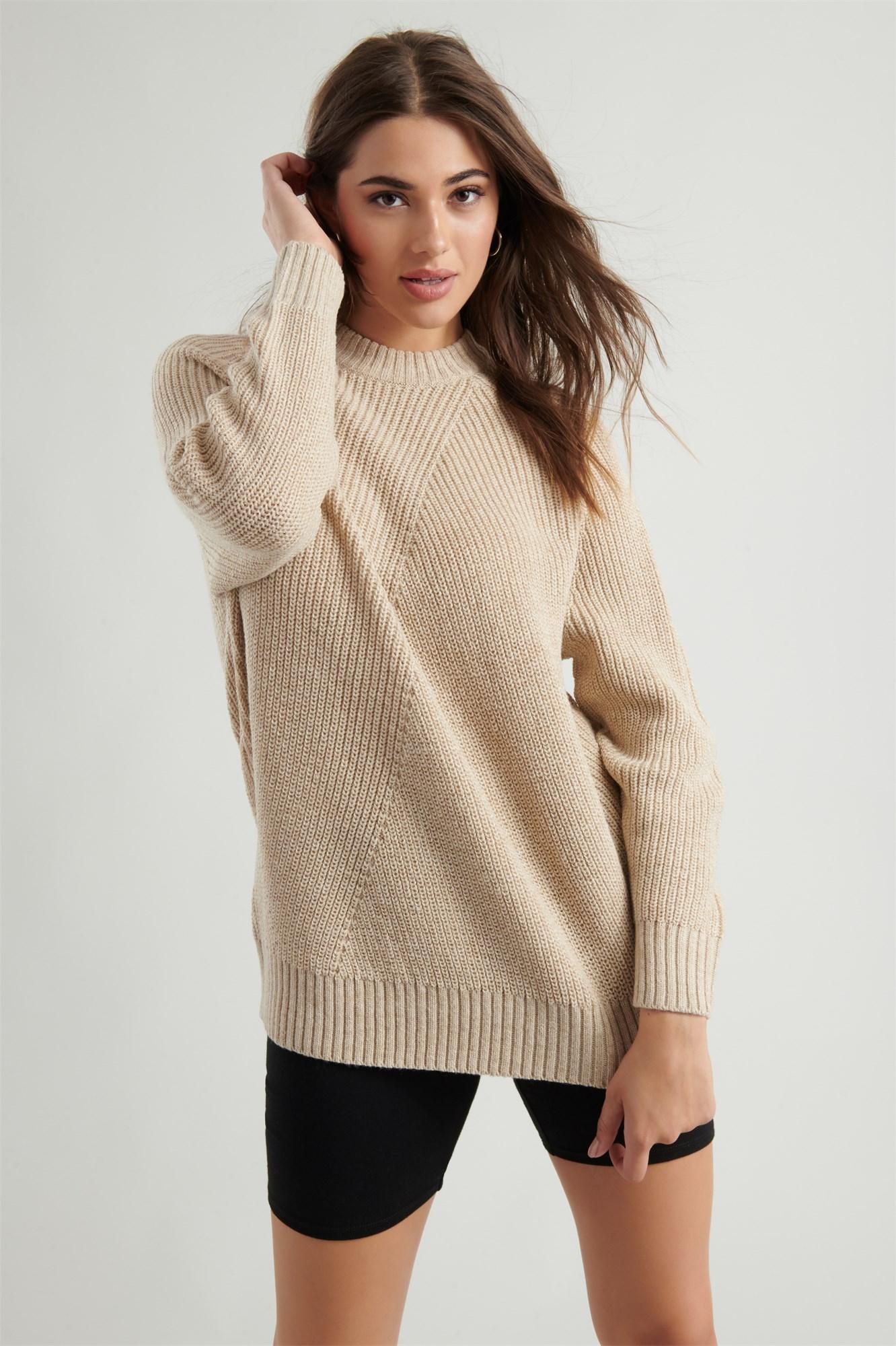 Image 2 of Crew Neck Tunic Sweater