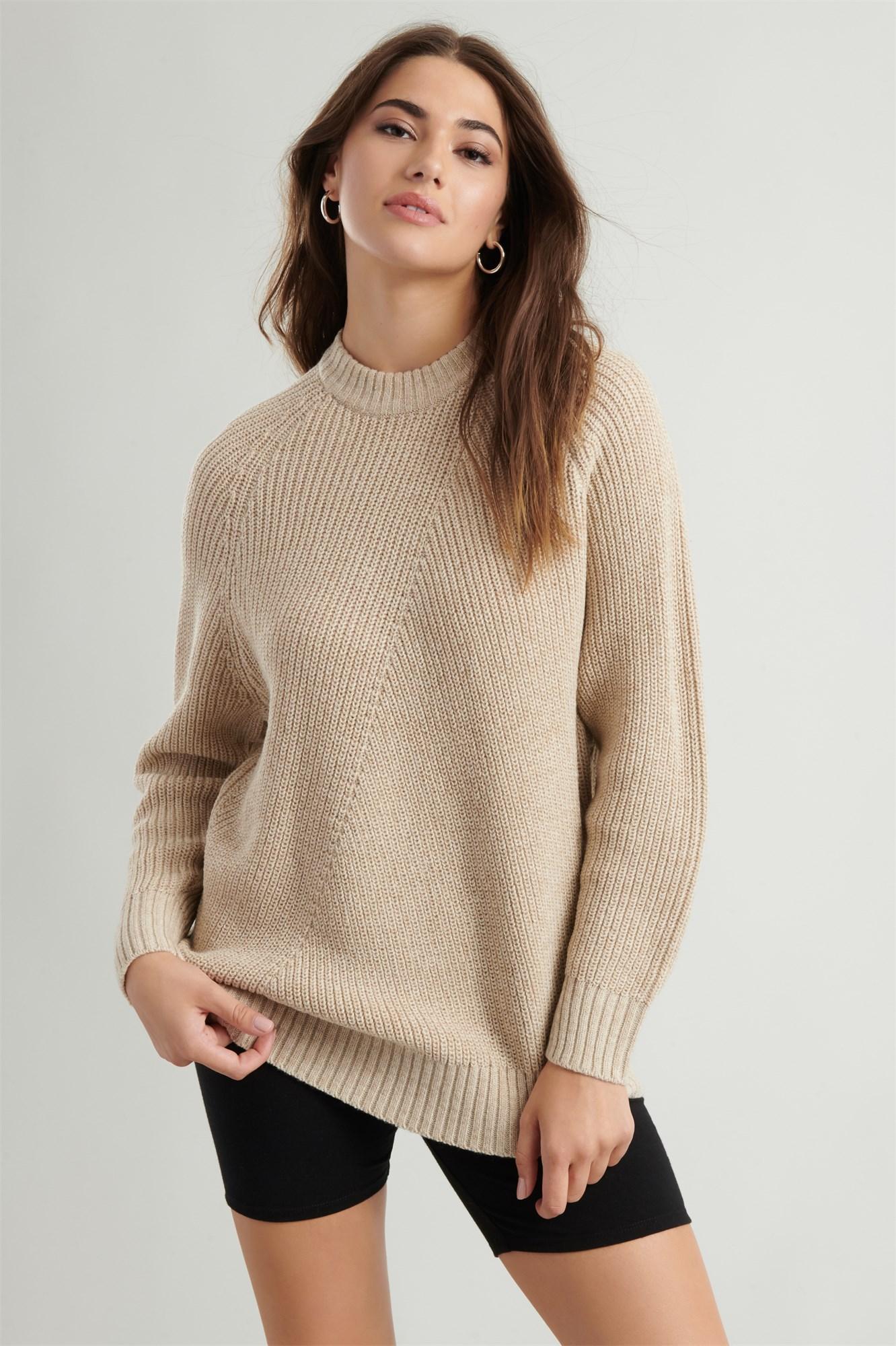 Image 3 of Crew Neck Tunic Sweater