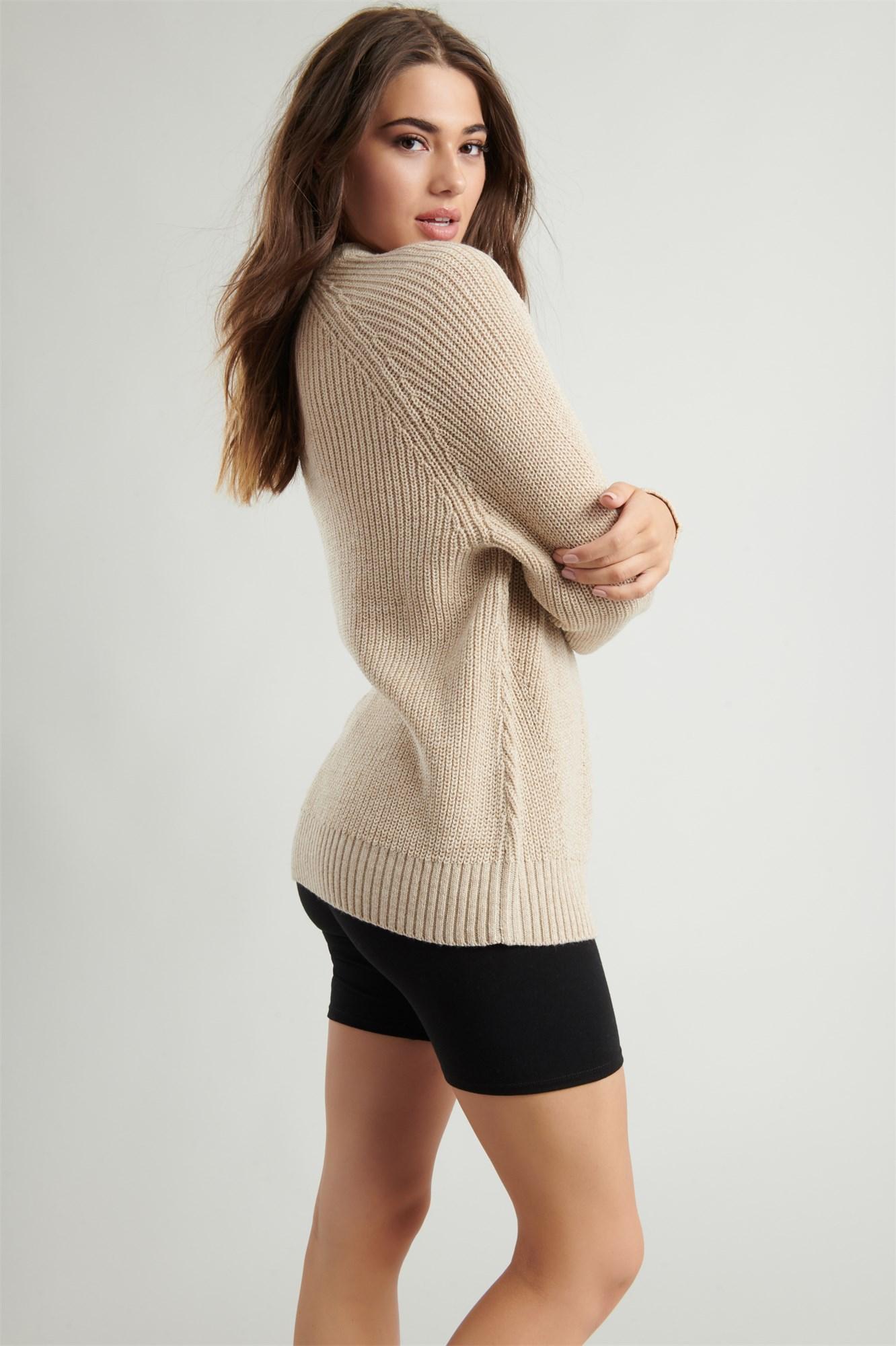 Image 4 of Crew Neck Tunic Sweater