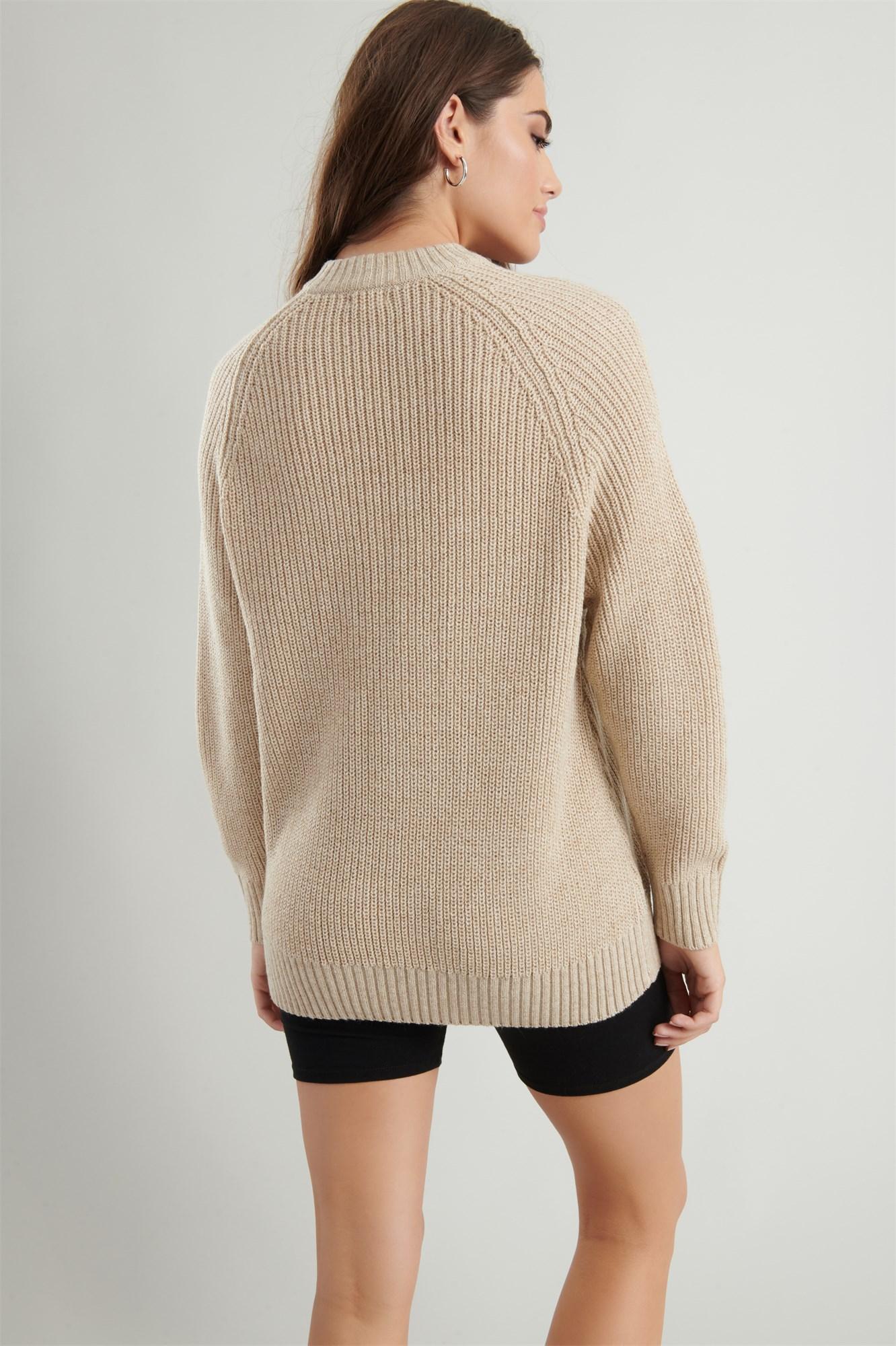 Image 5 of Crew Neck Tunic Sweater