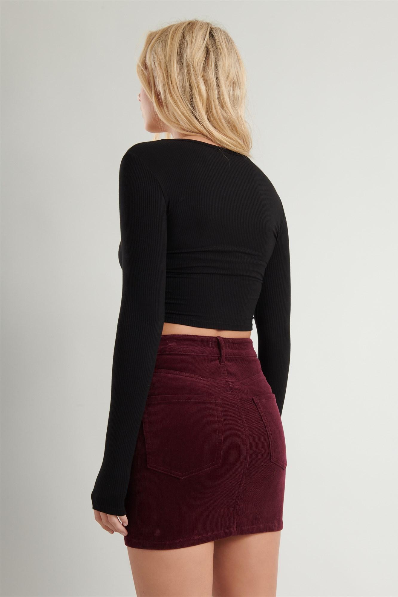 Image 4 of High Rise Corduroy Skirt