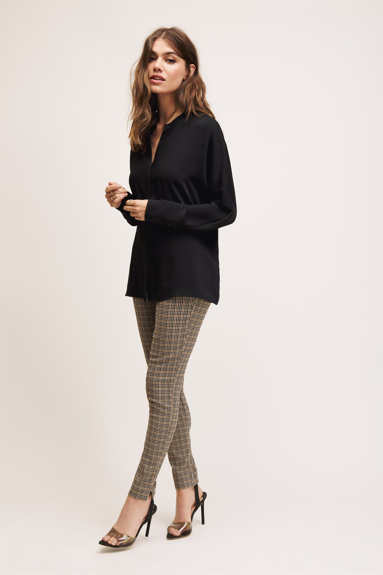 Collarless Dolman Sleeve Blouse by Dynamite