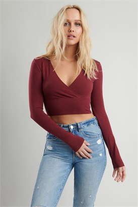 Image of Long Sleeve Wrap Top