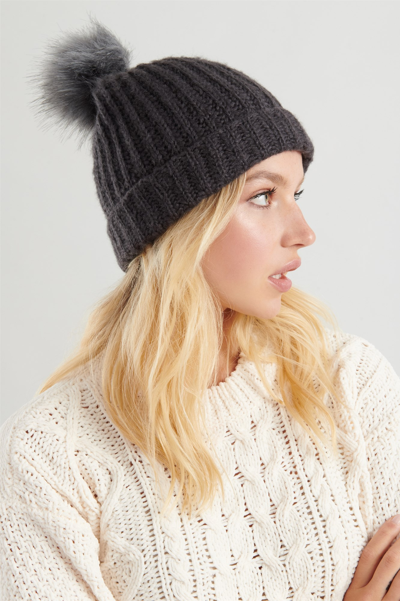 Cable Knit Pom Pom Beanie by Garage