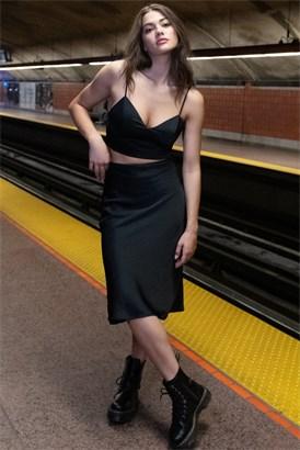 Image of Satin Midi Skirt