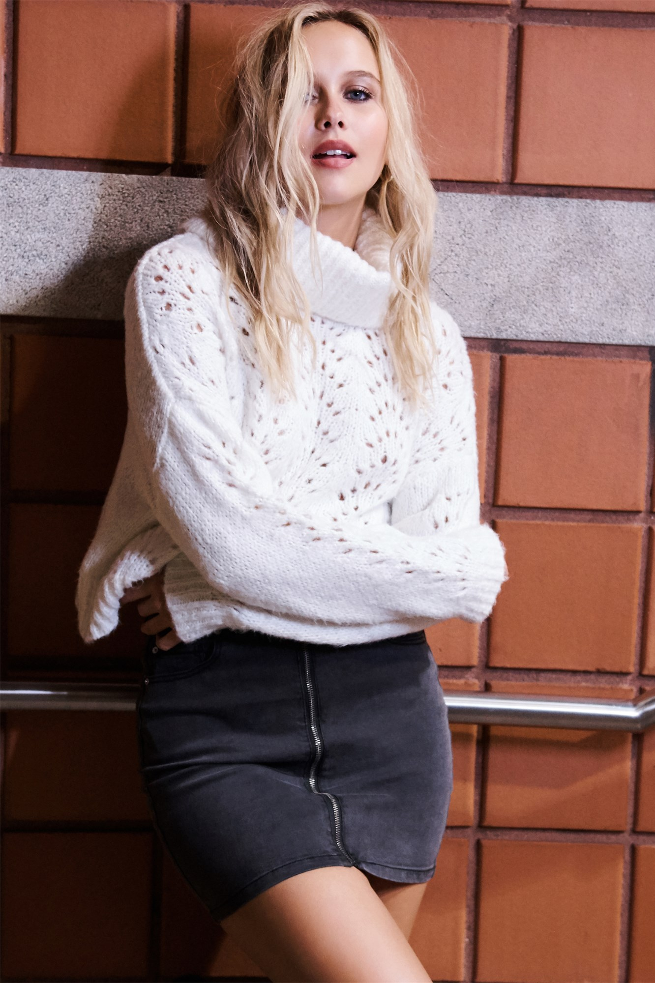 Image 1 of Pointelle Turtleneck Sweater