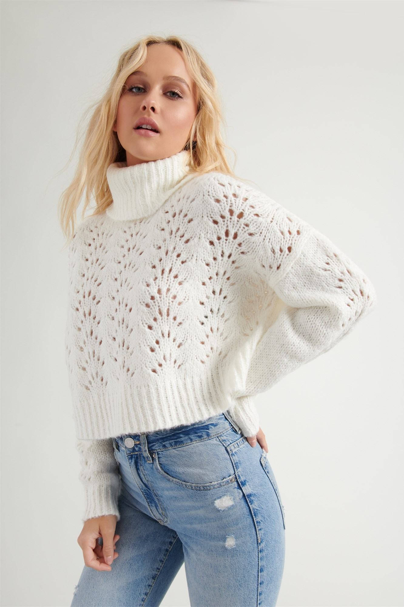 Image 2 of Pointelle Turtleneck Sweater