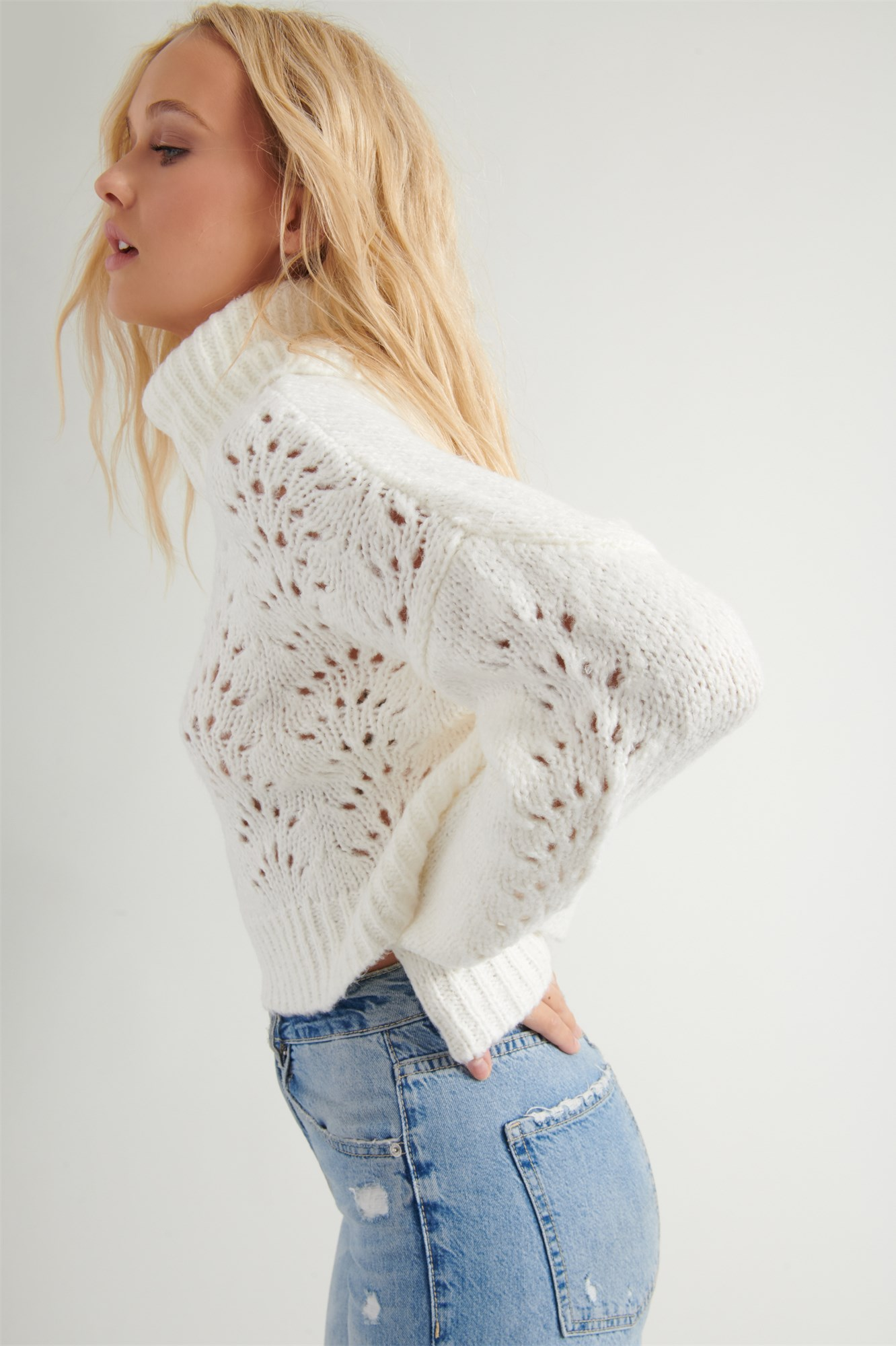 Image 3 of Pointelle Turtleneck Sweater