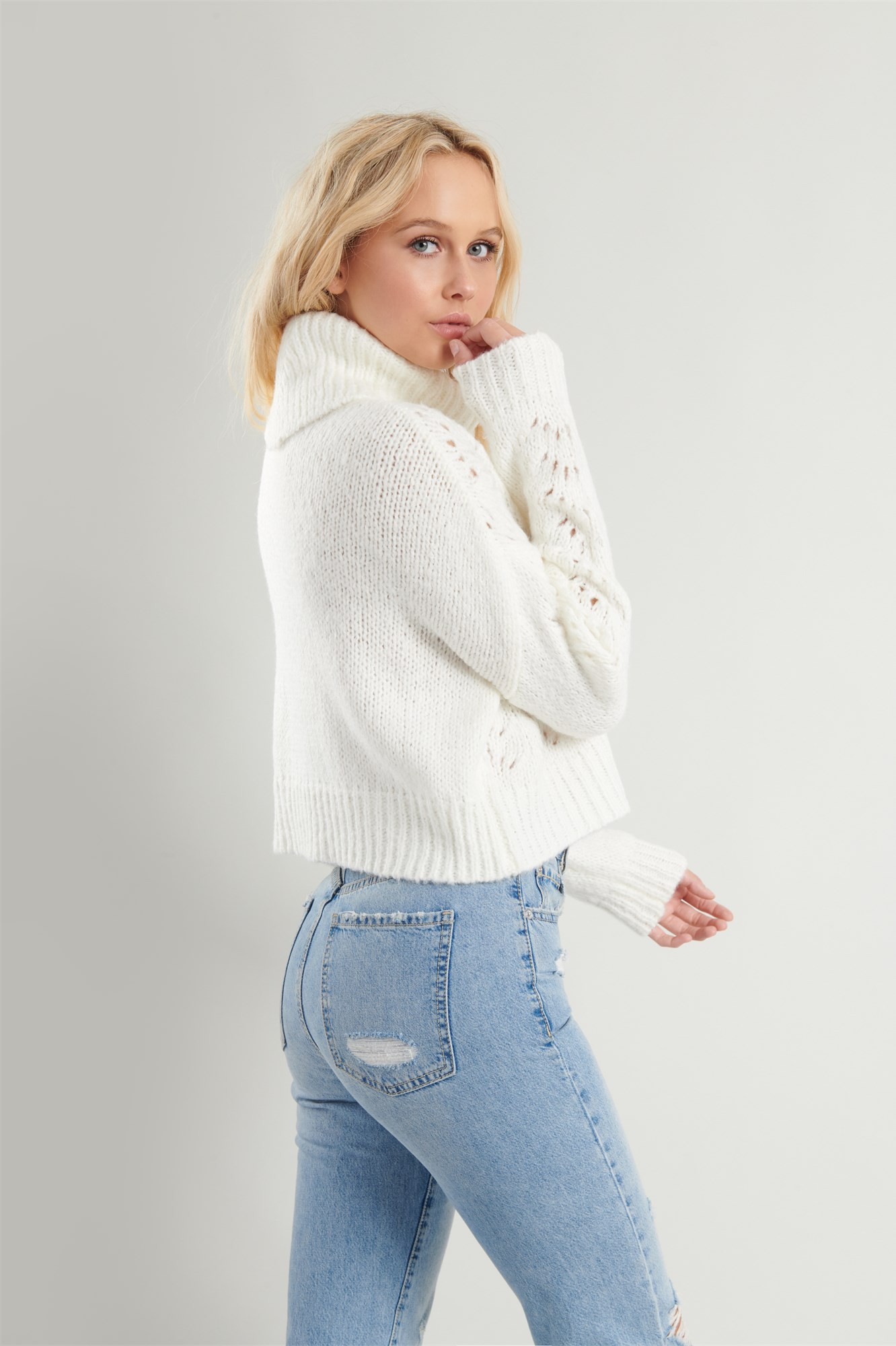 Image 5 of Pointelle Turtleneck Sweater