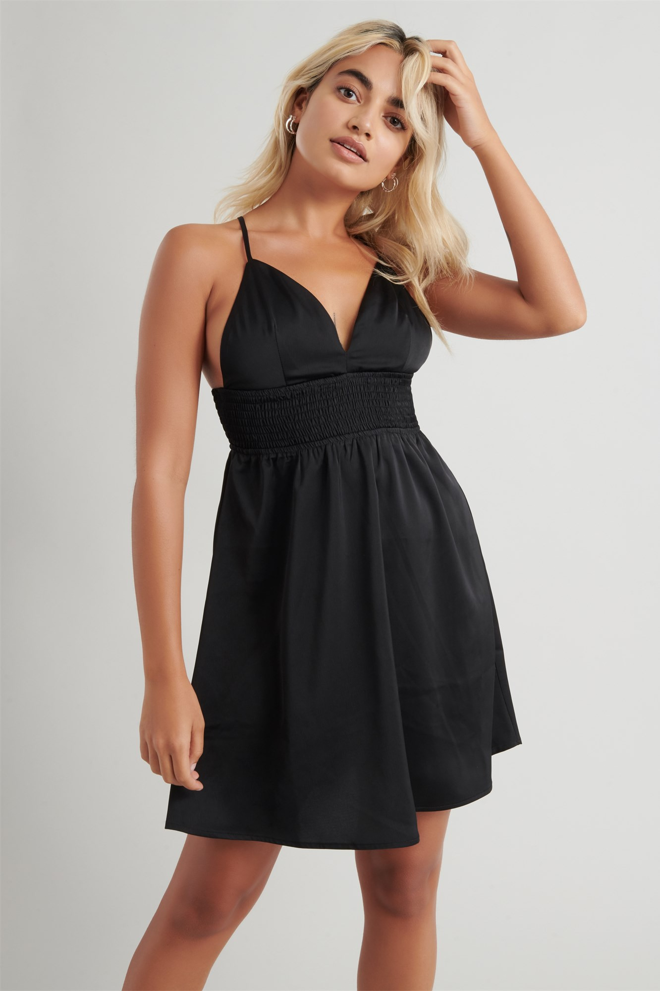 Image 2 of Satin Fit & Flare Dress