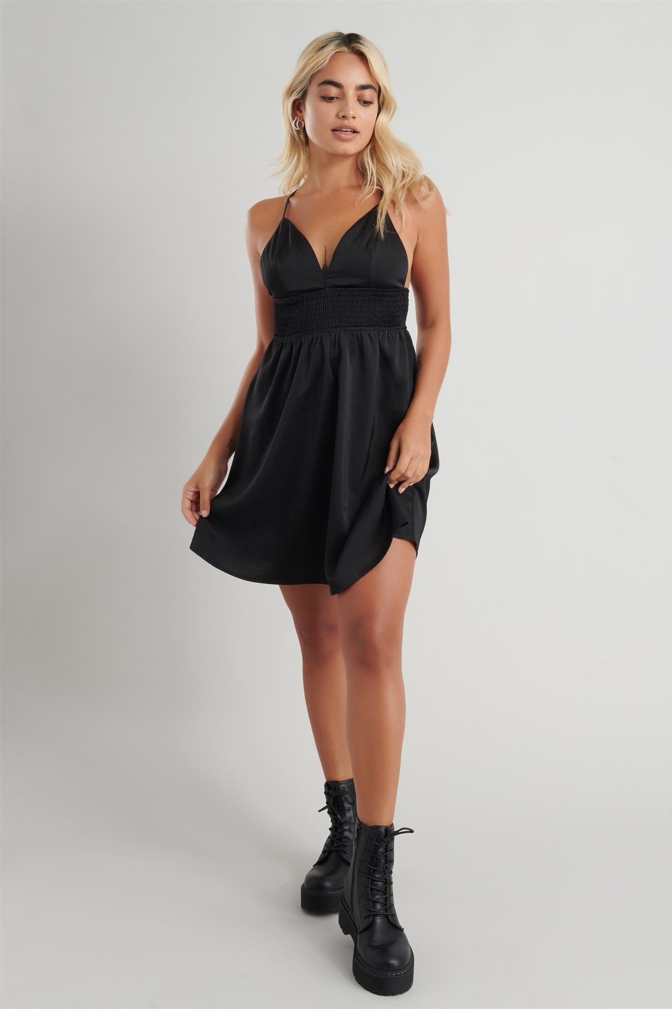 Image 3 of Satin Fit & Flare Dress