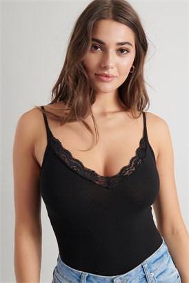 Image of Lace Trim Cami Bodysuit
