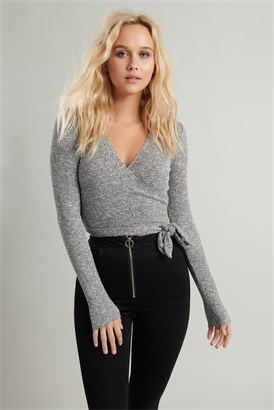 Image of Sweater Knit Wrap Tee