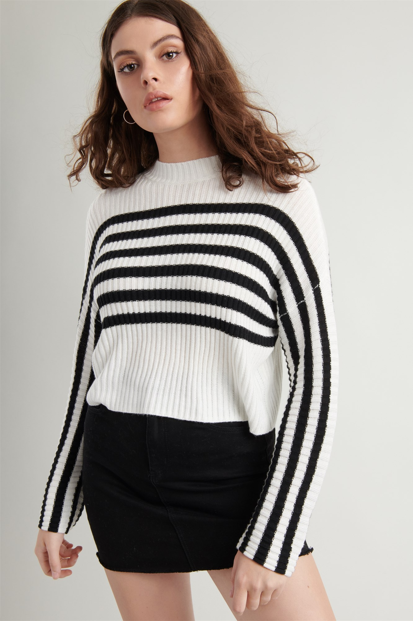 Image 4 of Crop Drop Shoulder Sweater