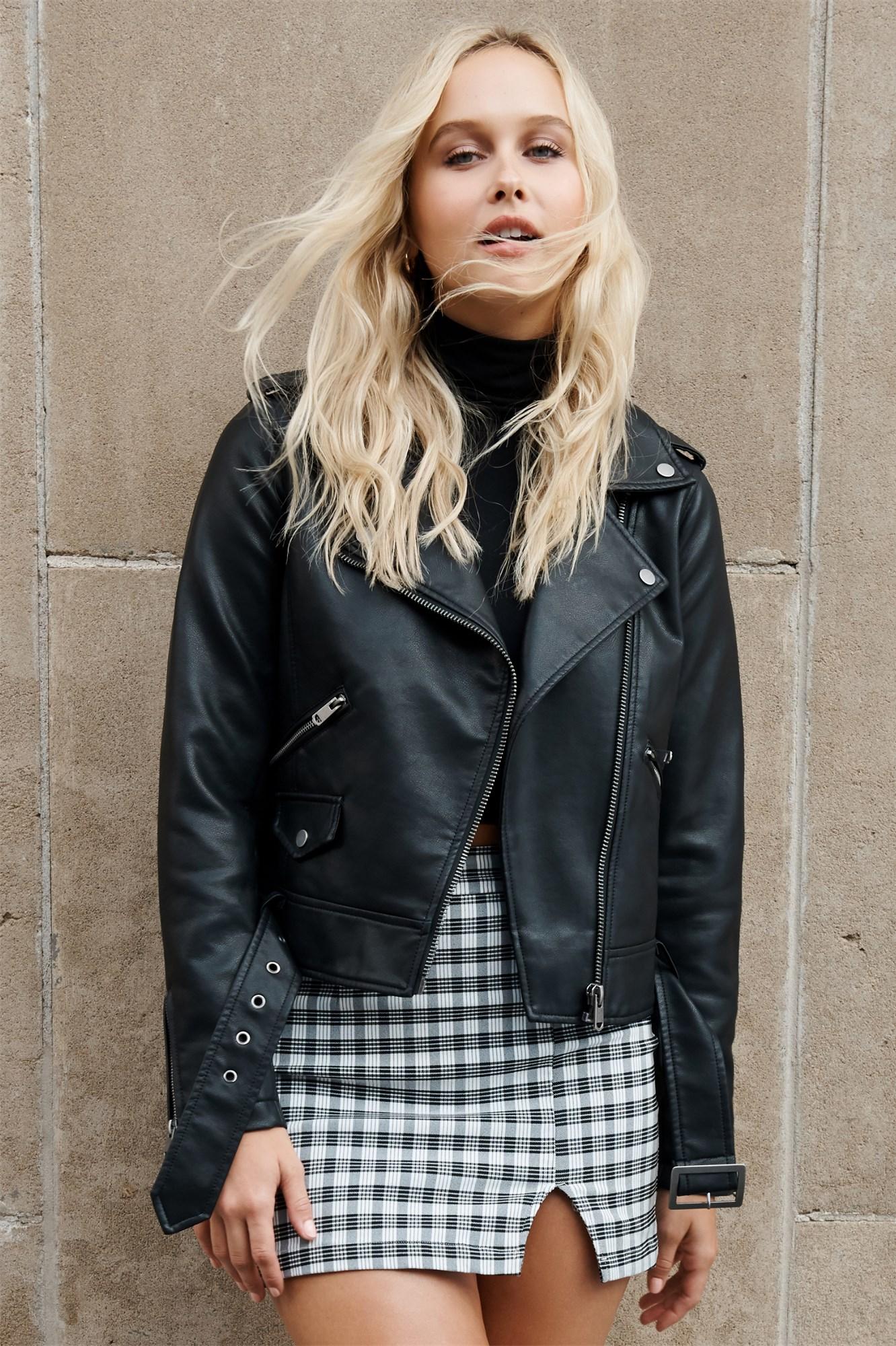 Image 1 of Faux Leather Moto Jacket