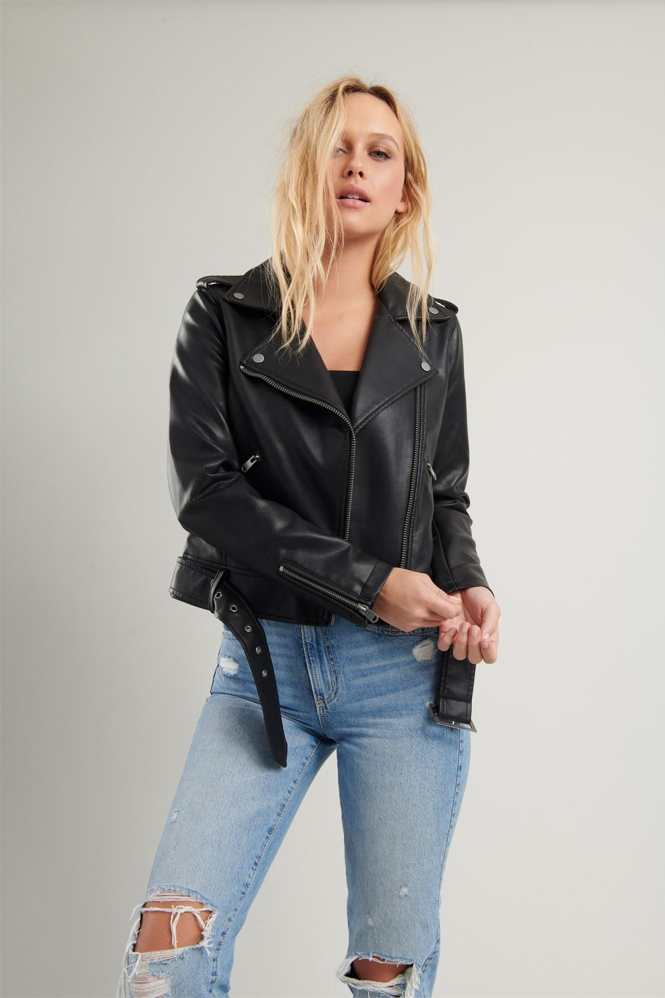 Image 3 of Faux Leather Moto Jacket