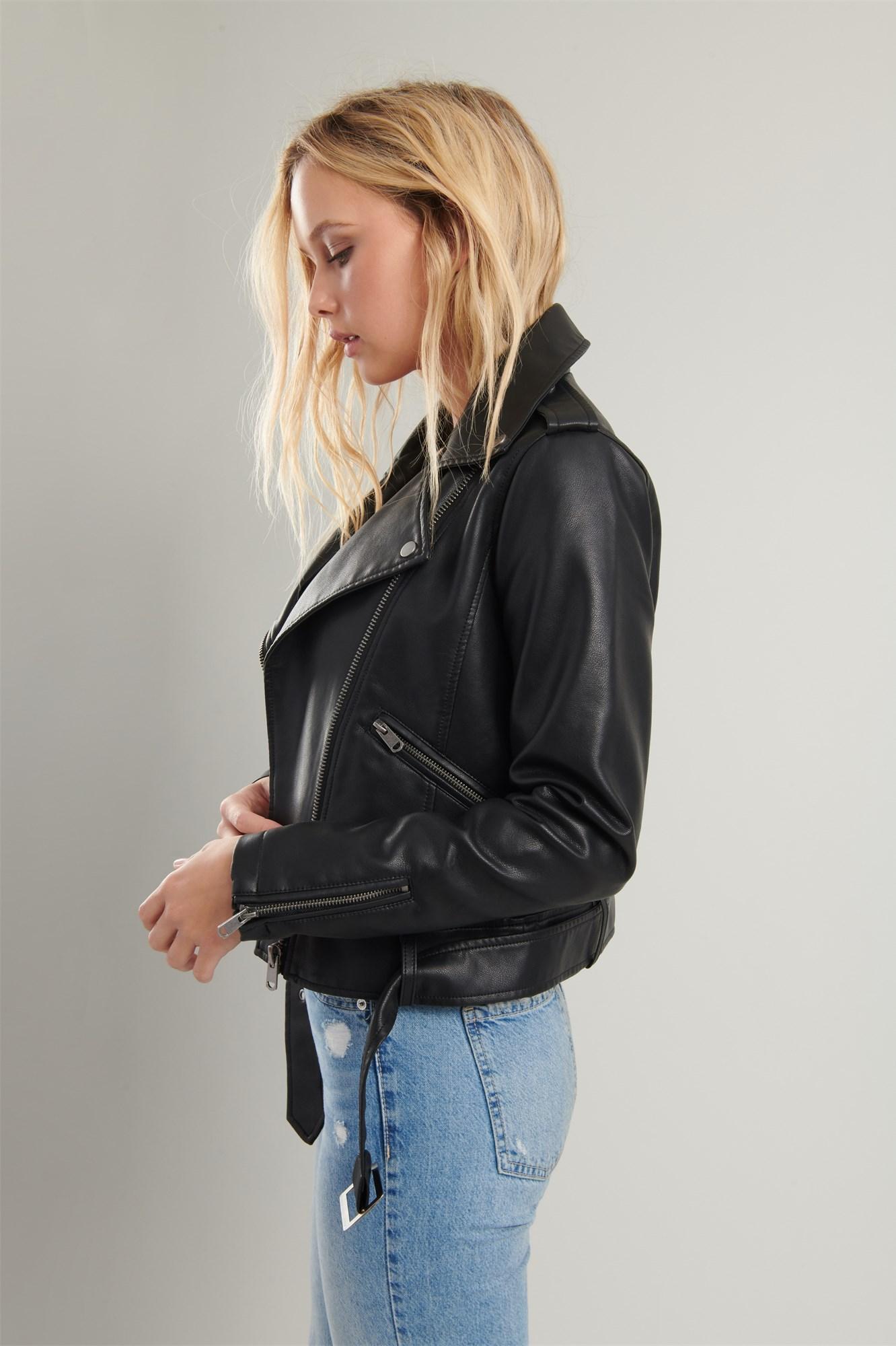 Image 4 of Faux Leather Moto Jacket